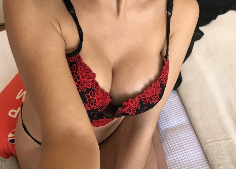 wearing my cute black and red lingerie set