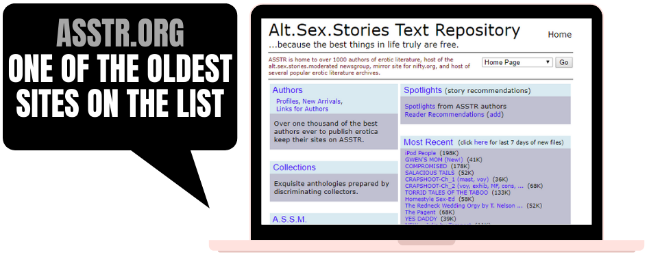 screenshot of asstr.org