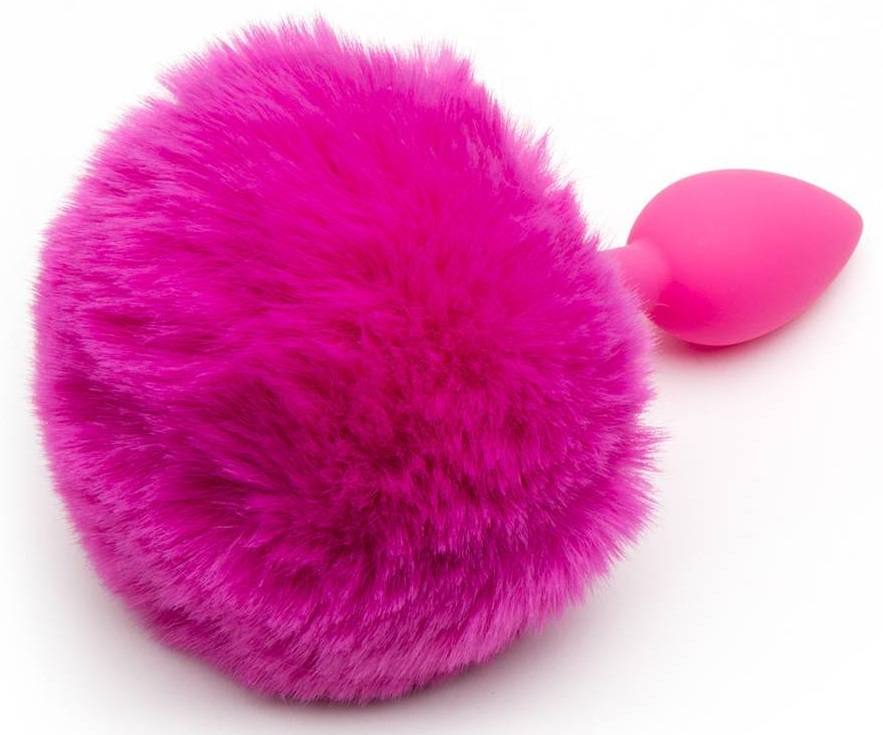 pink fluffy bunny tail butt plug