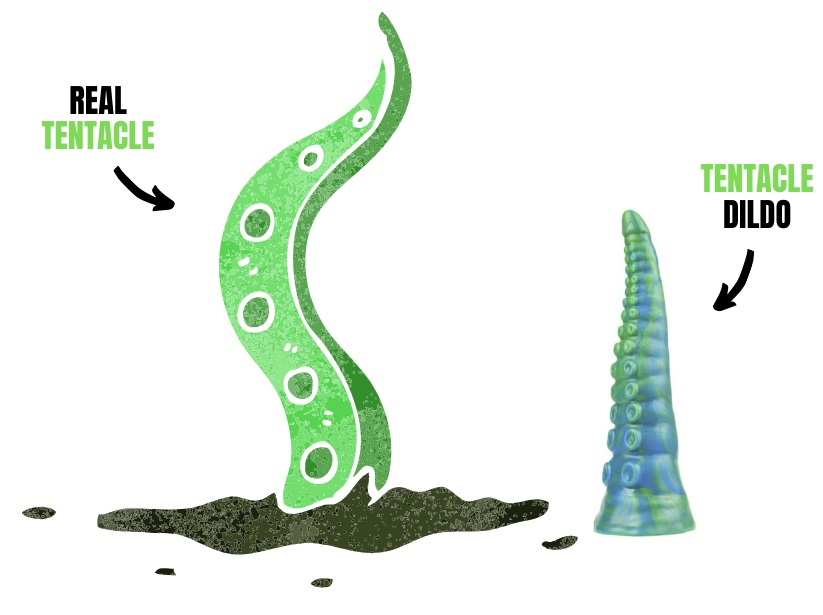 cartoon of tentacle next to tentacle dildo