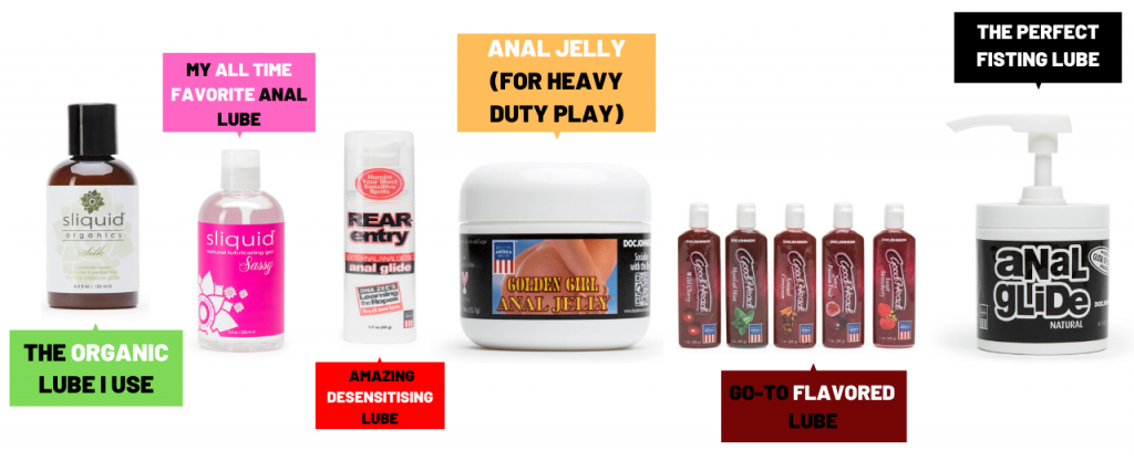 a collection of different types of anal lube
