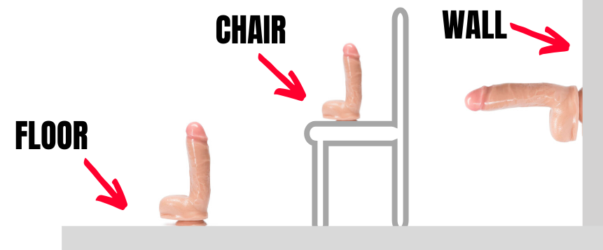 cartoon of different position and places you can use a suction cup dildo