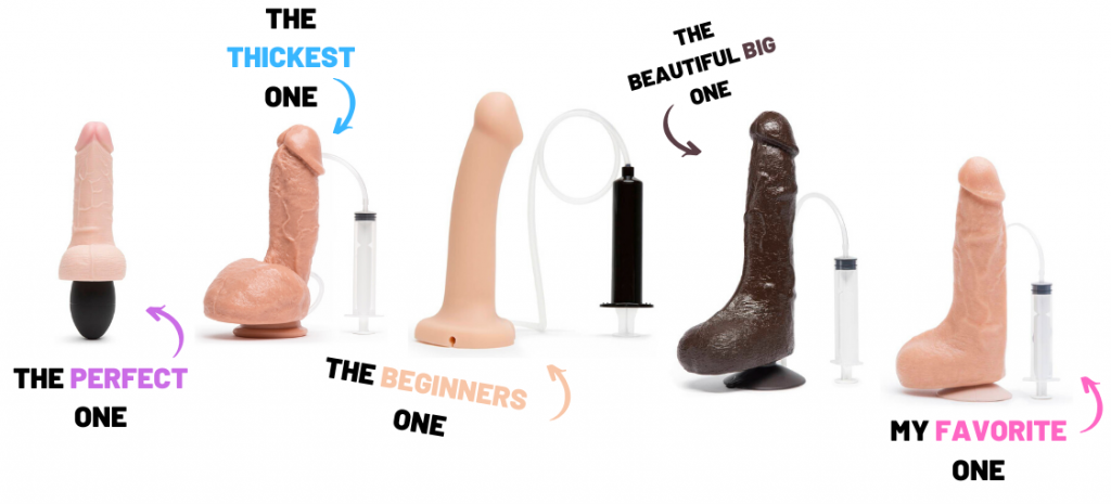collection of different squirting dildos
