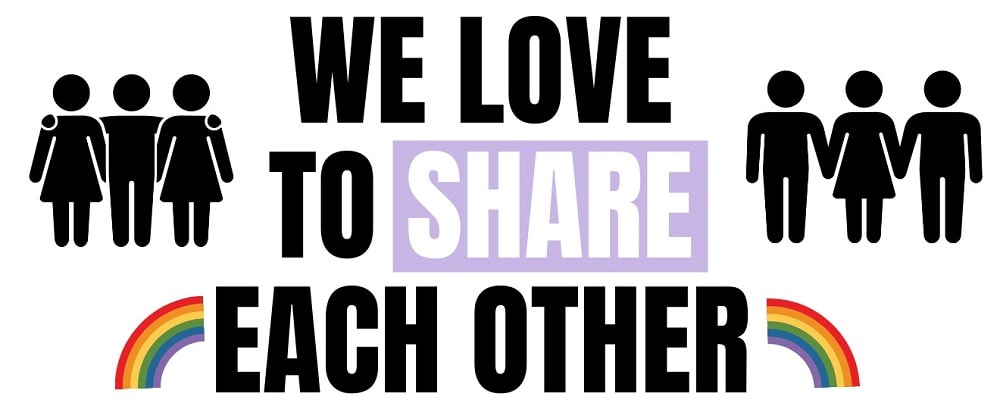 text that says: we love to share each other with rainbows coming out of each side